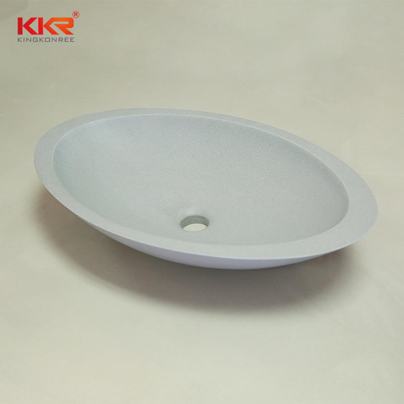 KKR Egg shape acrylic solid surface countertop wash basin KKR-1301