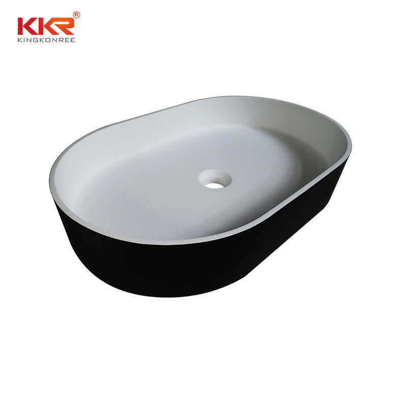 New Design High Quality Black Outside White Inside Above Counter Wash Basin KKR-1057