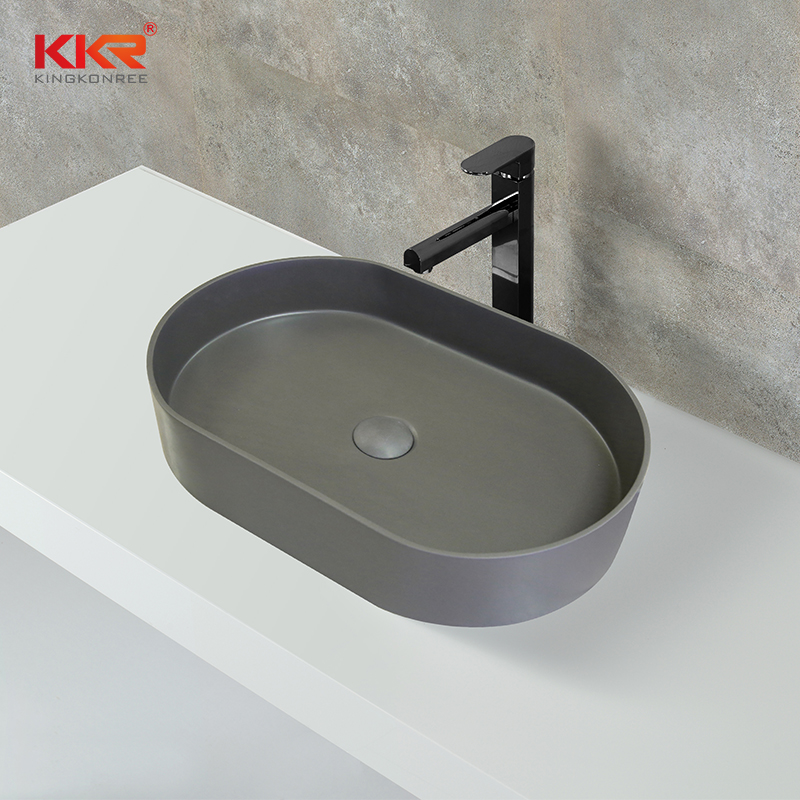 KingKonree New Design High Quality Black Outside White Inside Above Counter Wash Basin KKR-1057 Above Counter Basin image5