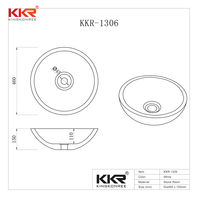 KingKonree White Solid Surface Small Round Wash Basin KKR-1306 Above Counter Basin image2
