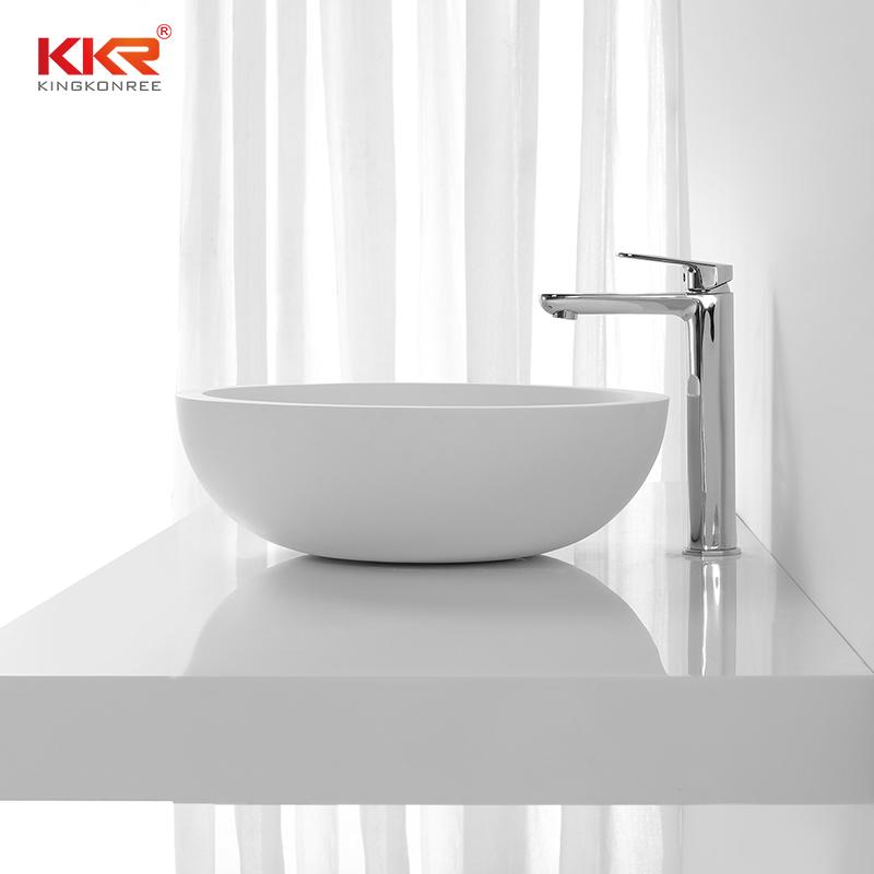 KingKonree White Solid Surface Small Round Wash Basin KKR-1306 Above Counter Basin image2