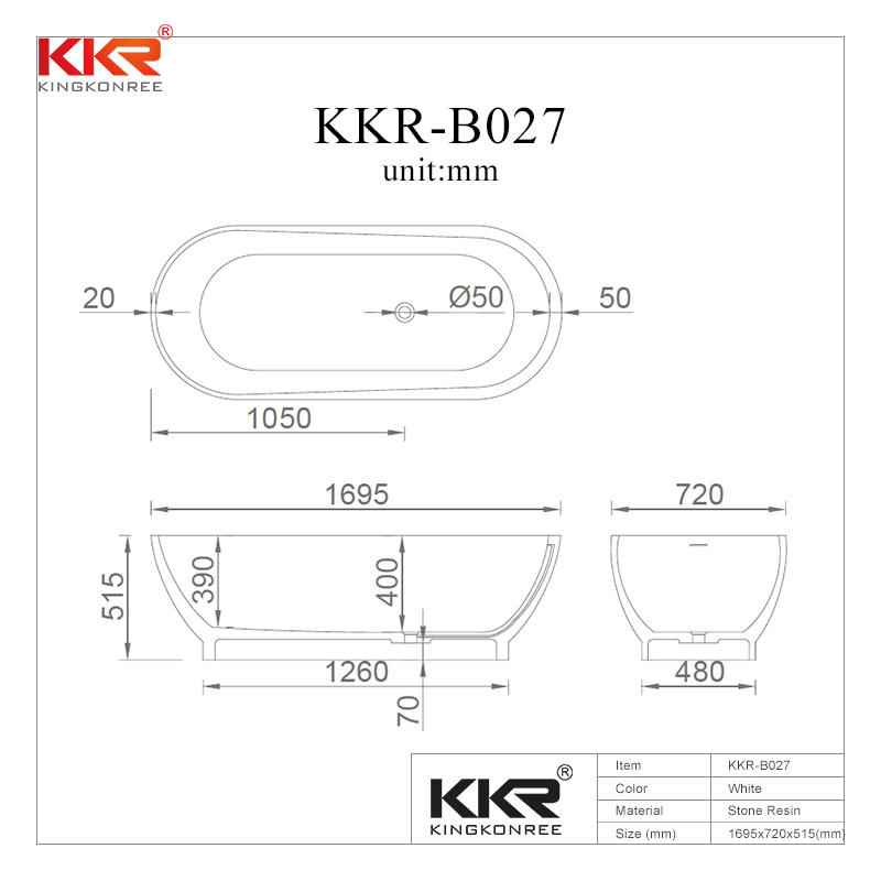 Five Star Hotel Standard Acrylic Solid Surface Freestanding Bathtubs KKR-B027