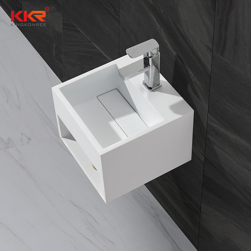 Small Size Artificial Stone Acrylic Solid Surface Square Wall Hang Wash Basin KKR-1360