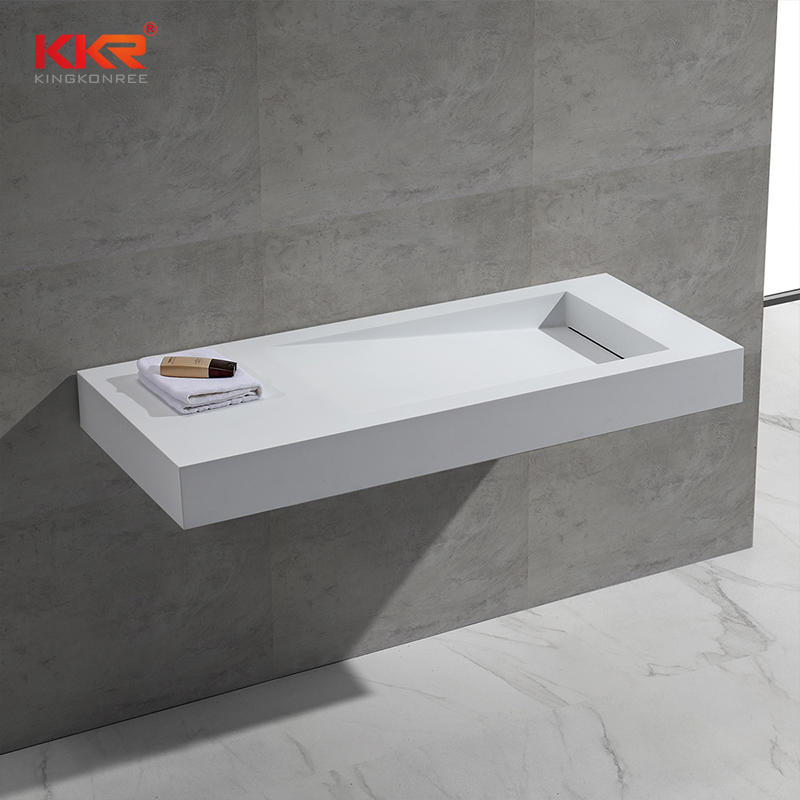 White Marble Acrylic Resin Stone Solid Surface Wall Mounted Wash Basin KKR-1374