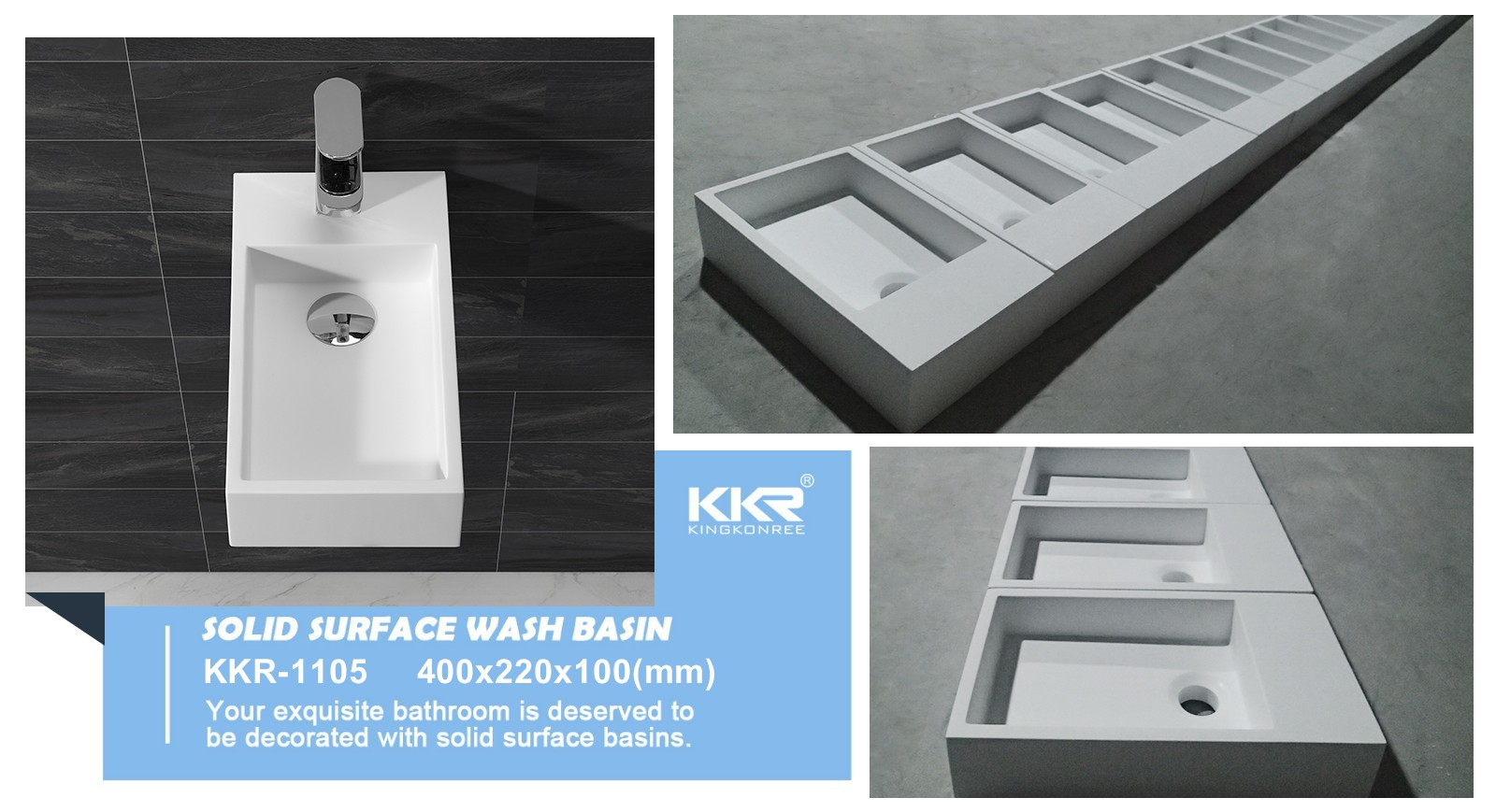 KKR Wholesale Small Size Wall Hung Solid Surface Basin KKR-1105-9