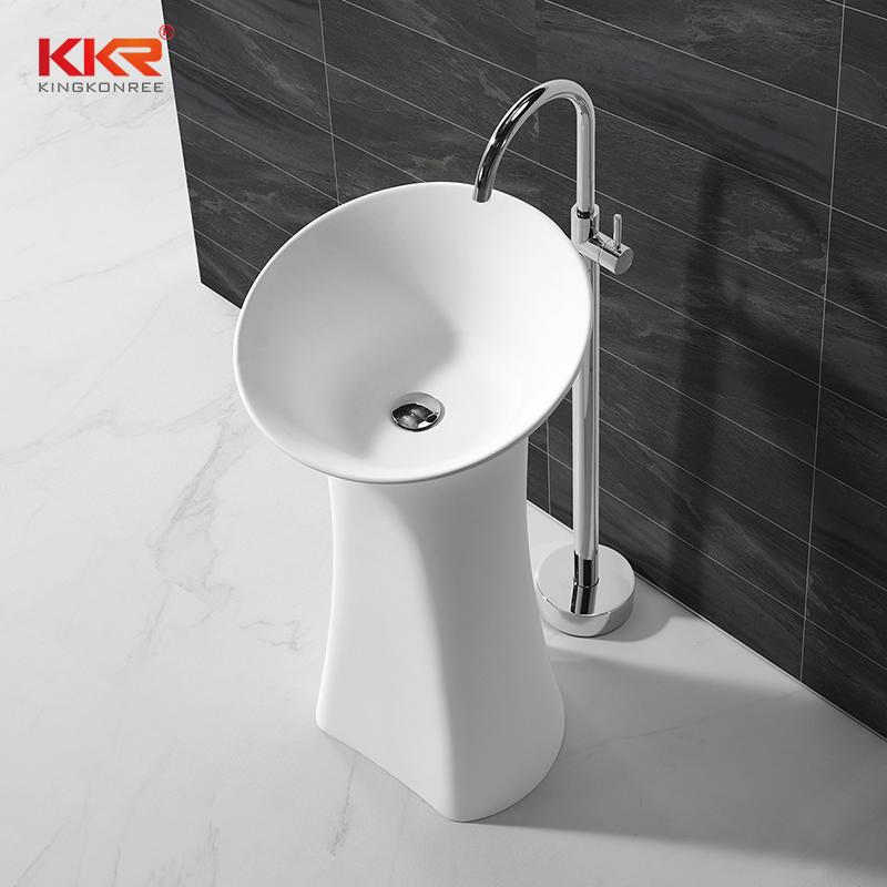 900MM Height Solid Surface Freestanding Pedestal Wash Basin KKR-1581
