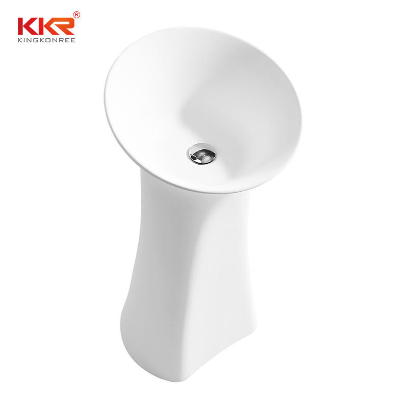 900MM Height Solid Surface Freestanding Pedestal Wash Basin KKR-1581
