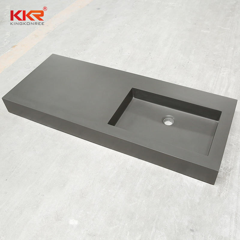 Dark Grey Acrylic Solid Surface Cabinet Basin KKR-1534