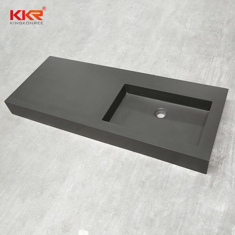 Lavabo de gabinete de superficie sólida de acrílico gris oscuro KKR-1534