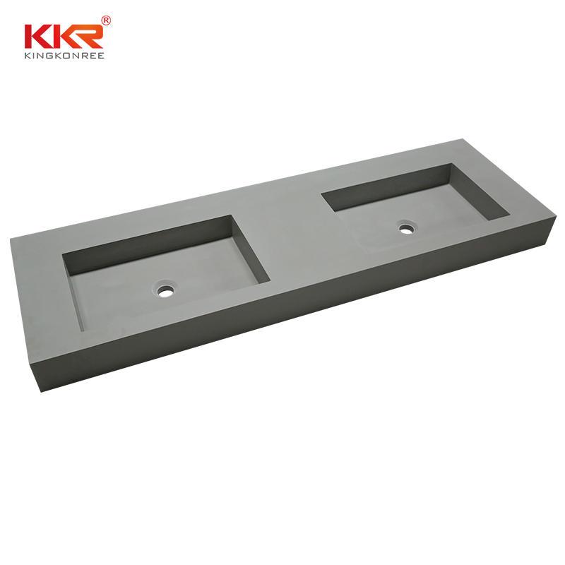 Lavabo de gabinete de superficie sólida de piedra acrílica de doble fregadero de Color concreto KKR-1368