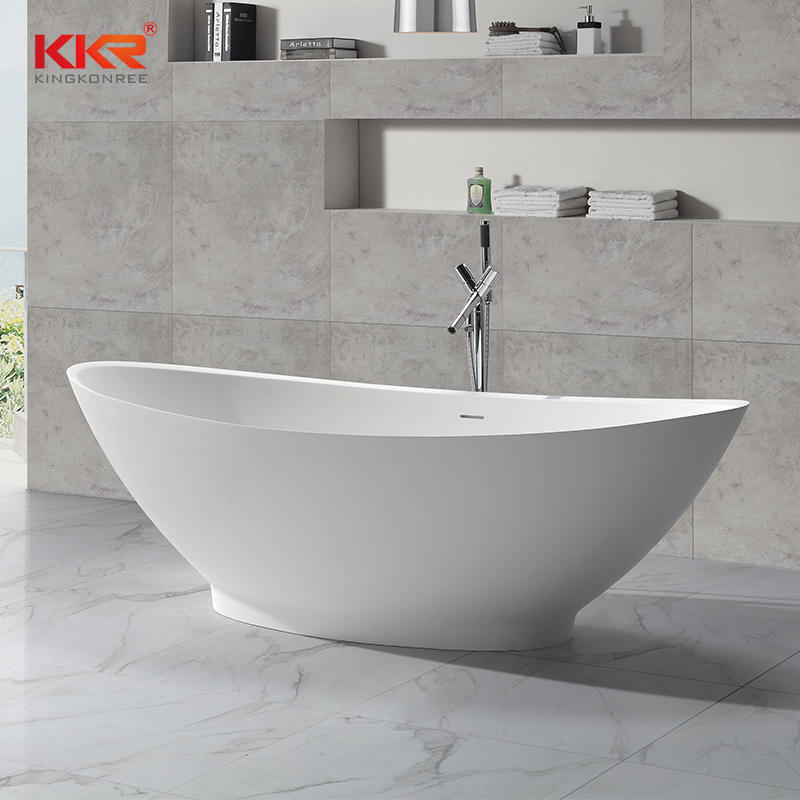 Big Size White Polymarble Acrylic Solid Surface Freestanding Bathtub KKR-B051