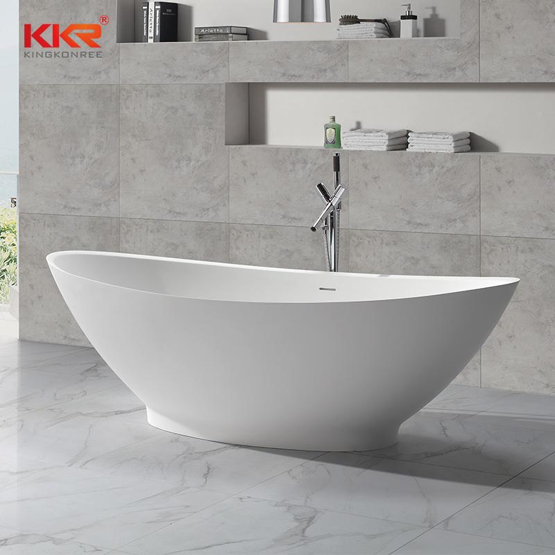 Bañera independiente de superficie sólida de acrílico polimérico blanco de gran tamaño KKR-B051