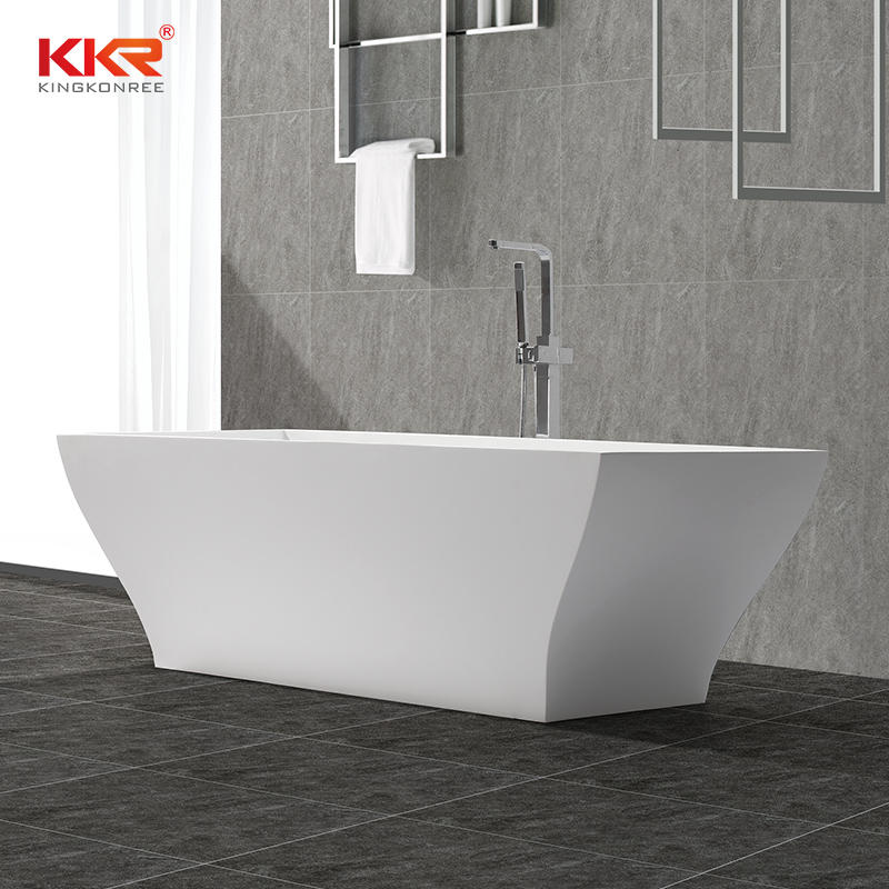 Rectangle Unique Design Polymarble Acrylic Solid Surface Freestanding Soaking Bathtub KKR-B052