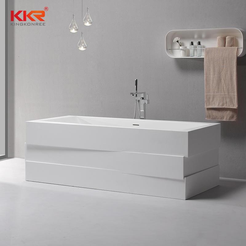 Diseño moderno de resina acrílica de piedra de superficie sólida bañera independiente KKR-B085