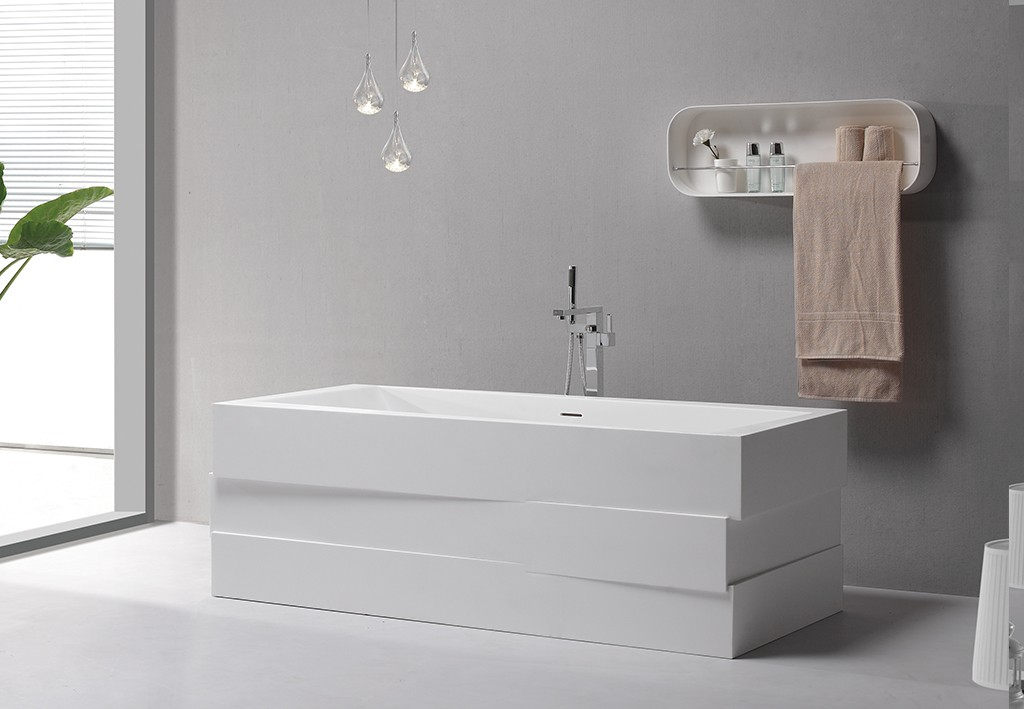 KingKonree black contemporary freestanding bath OEM-1