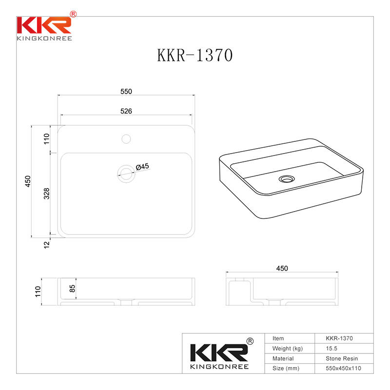 Acrylic Stone Solid Surface Rectangular Above Counter Wash Basin KKR-1370