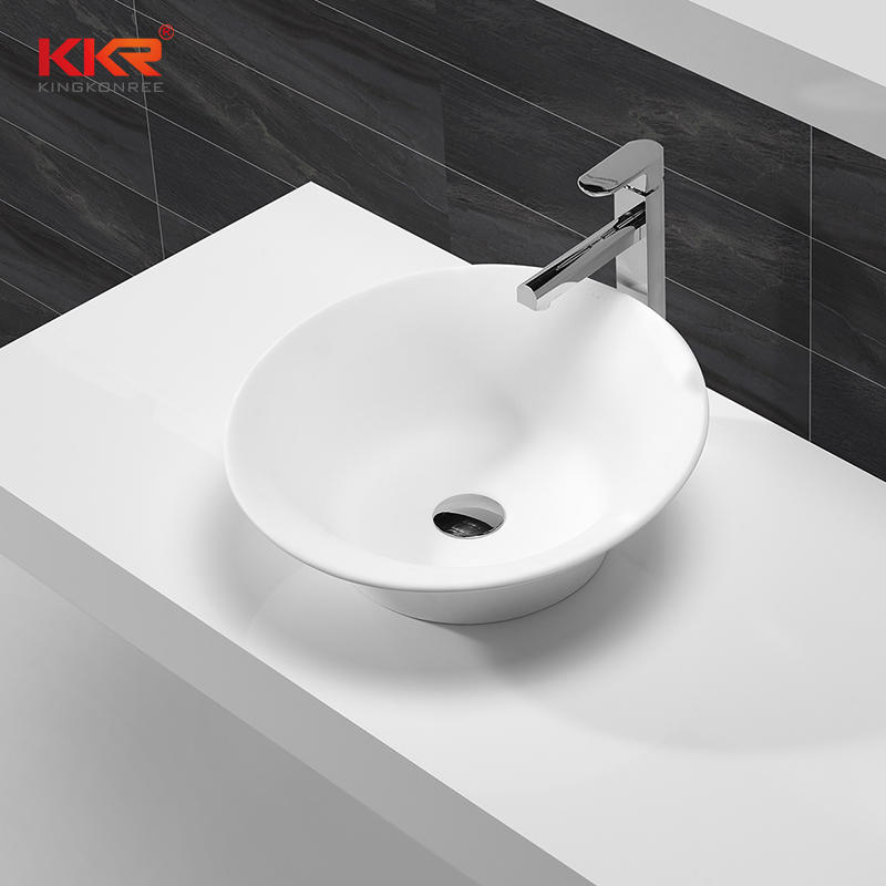 Bowl Shape Artificial Marble Solid Surface Acrylic Stone Countertop Wash Basin KKR-1508