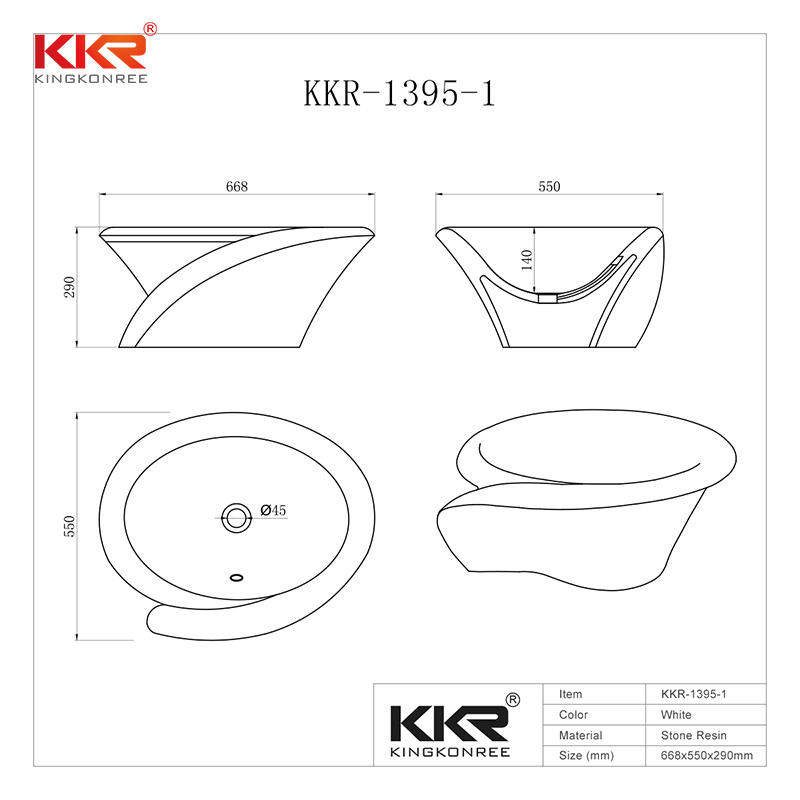 European Standard Stylish Solid Surface Countertop Wash Basin KKR-1395-1