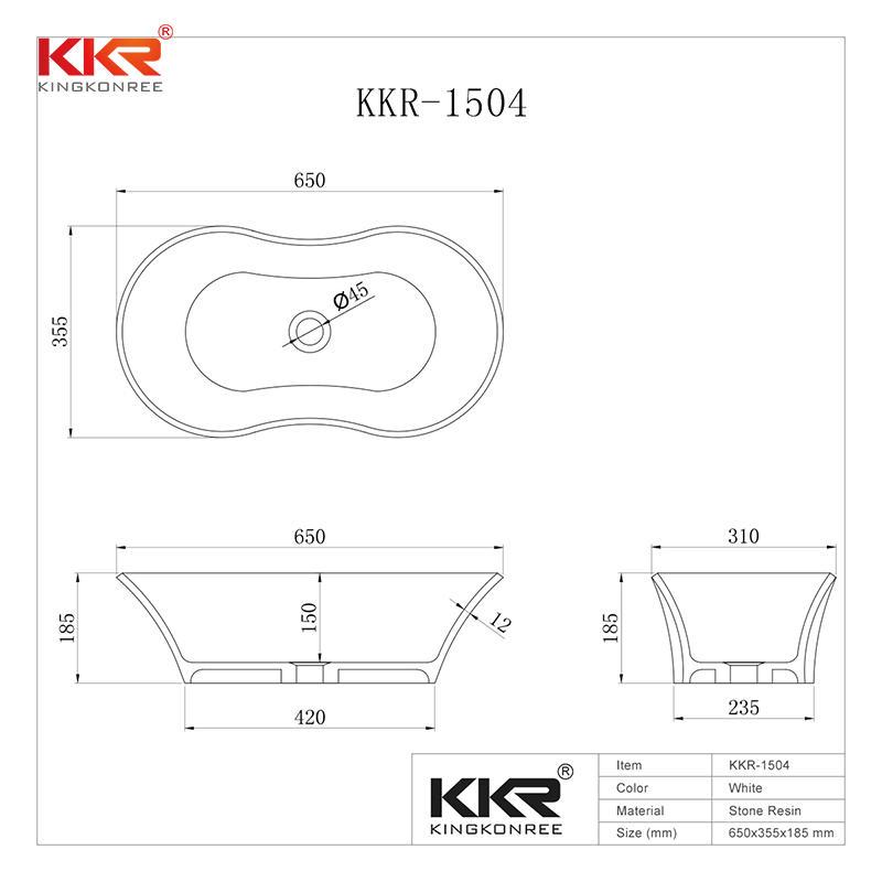 Lavabo de lavabo de superficie sólida de mármol acrílico de alta gama KKR-1504