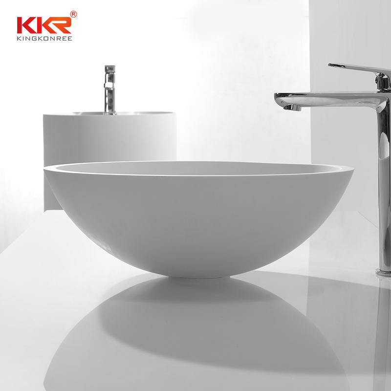 Small Round Resin Stone Acrylic Solid Surface Above Counter Basin For Bathroom KKR-1513