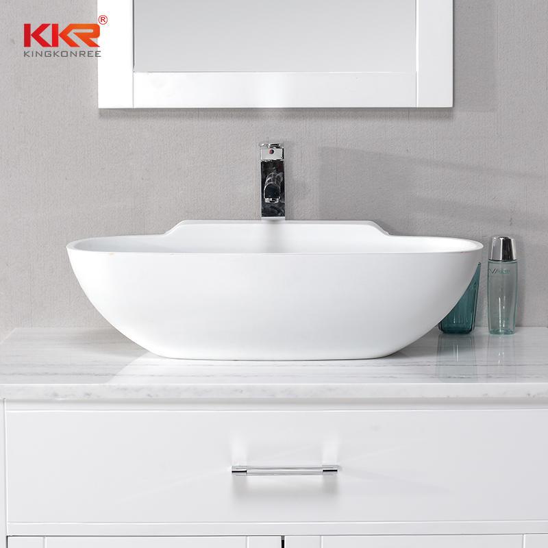 New Design 650mm Length Solid Surface Acrylic Resin Stone Wash Basin KKR-1518