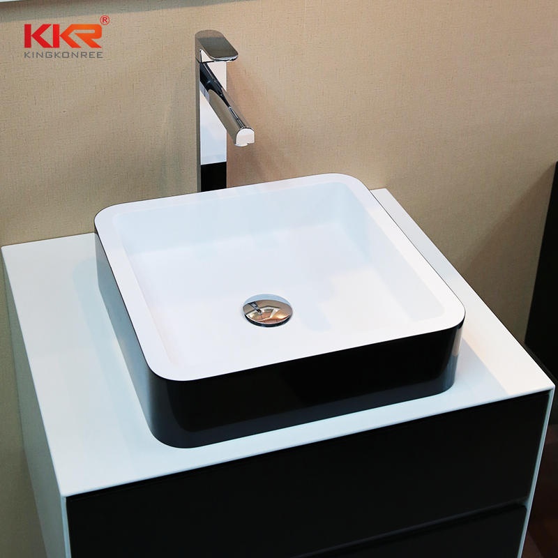 Square Shape White Inside And Black Outside Solid Surface Countertop Wasb Basin KKR-1154