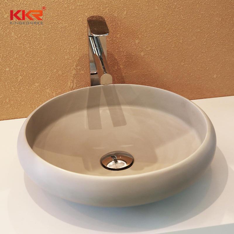 Nuevo diseño de forma redonda superficie sólida de acrílico sobre lavabo de encimera KKR-1153