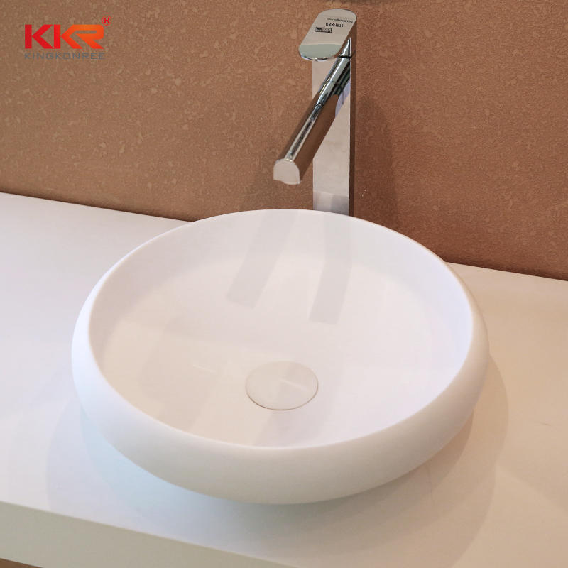 New Design Round Shape Acrylic Solid Surface Above Counter Wash Basin KKR-1153