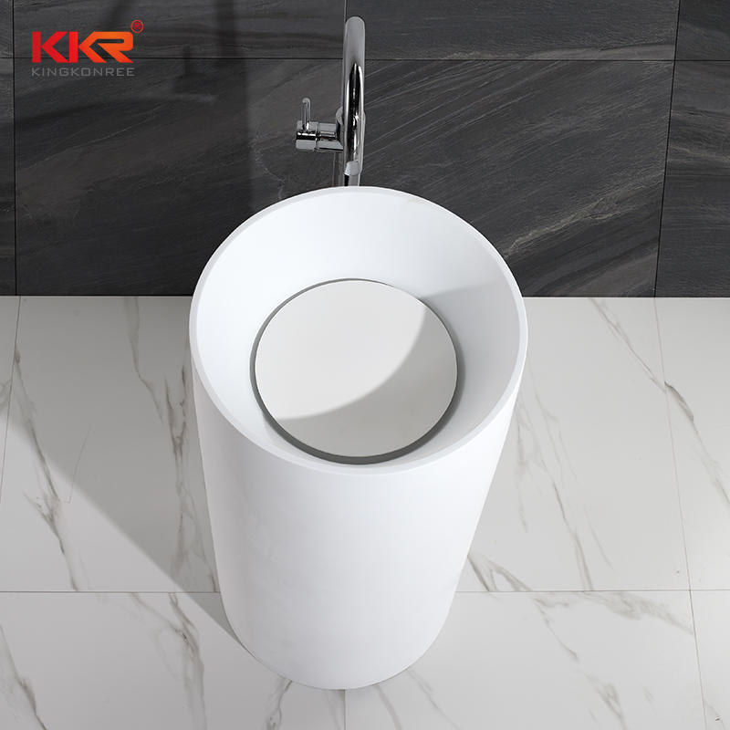 450mm Diameter Acrylic Resin Stone Artificial Marble Solid Surface Freestanding Basin KKR-1381