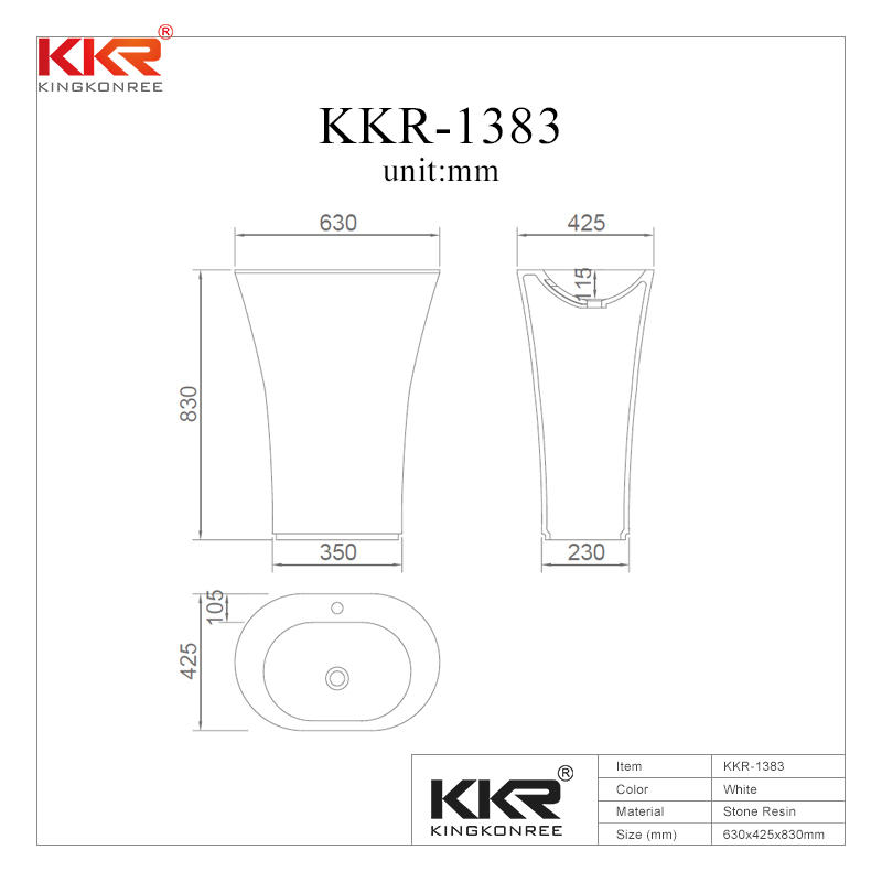 Gel Coat Acrylic Stone Solid Surface Freestanding Wash Basin KKR-1383