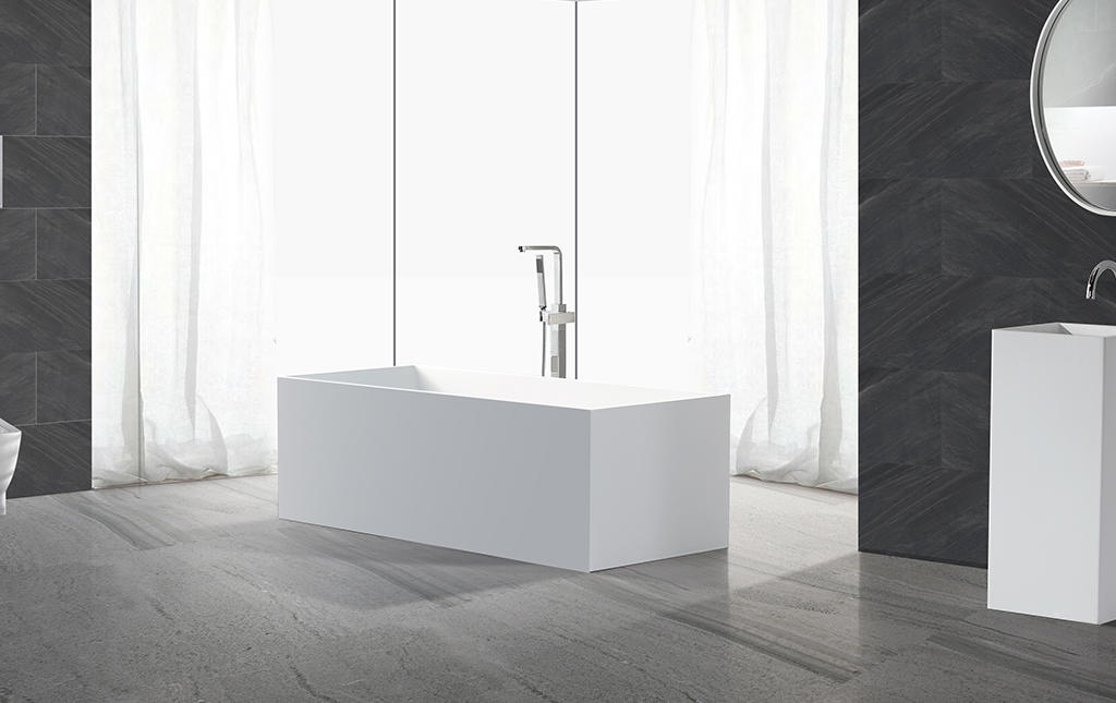 KingKonree Brand artificla solid 190cm custom Solid Surface Freestanding Bathtub