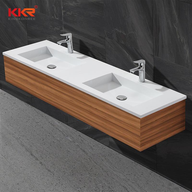 Lavabo doble de alta calidad de superficie sólida de acrílico del gabinete KKR-1356