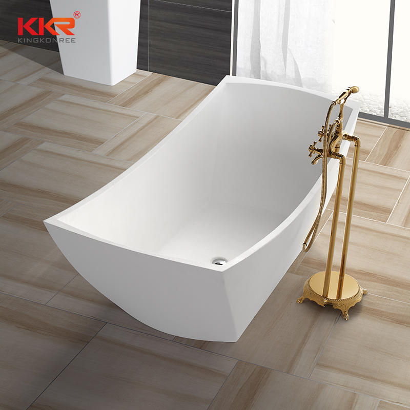 Elegant Design Royal White Polymarble Acrylic Solid Surface Soaking Bathtub KKR-B038