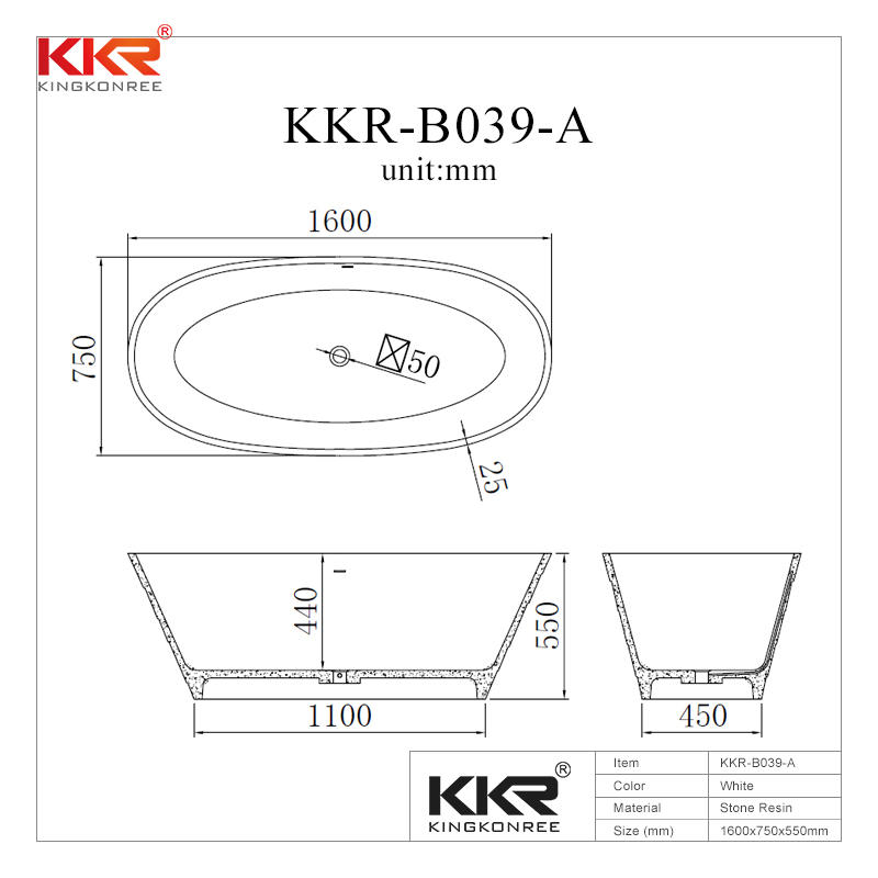 Small Size Acrylic Stone Resin Solid Surface Bathtub KKR-B039