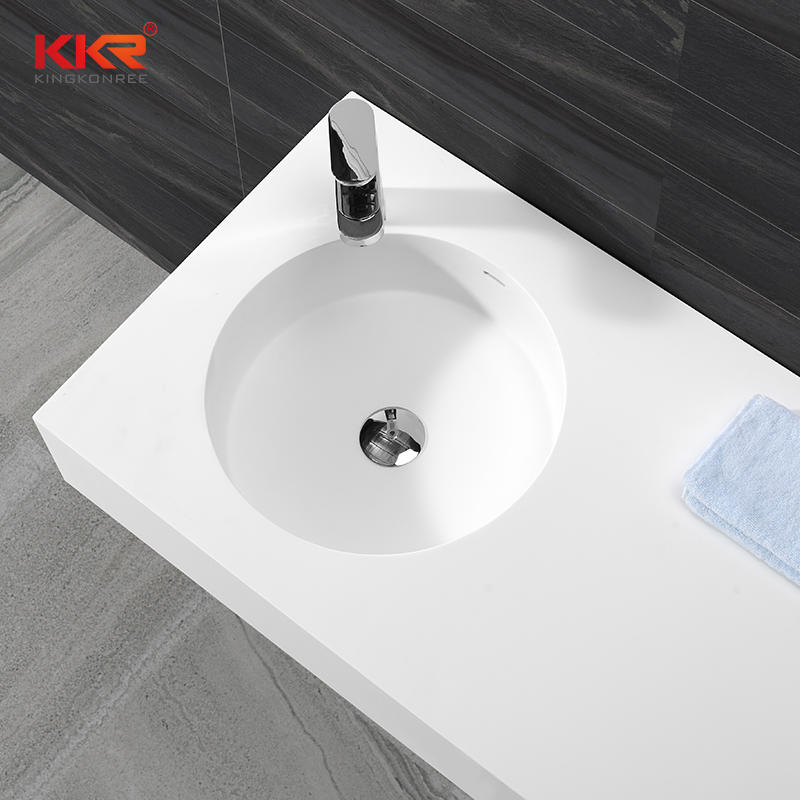 1000mm Length White Marble Acrylic Solid Surface Wall Huang Basin With Left Sink KKR-1271