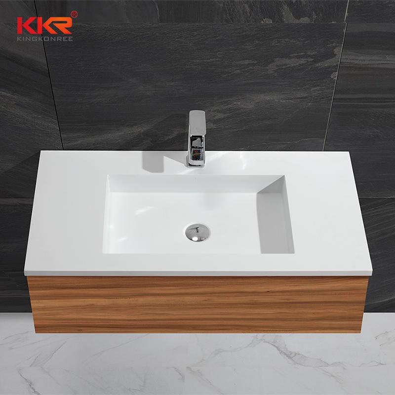 Rectángulo de brida recta acrílico superficie sólida gabinete lavabo KKR-1354