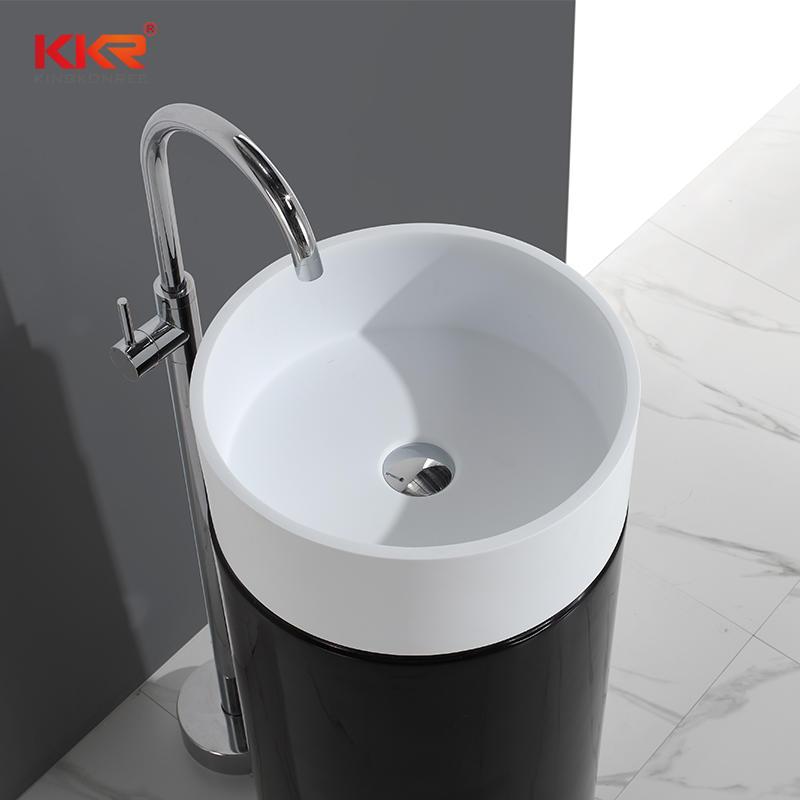 White + Black Polymarble Stone Round Freestanding Wash Basin KKR-1386