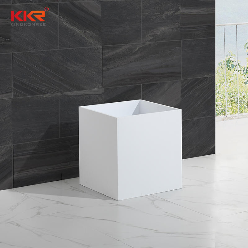 Classic Design White Marble Resin Stone Acrylic Solid Surface Freestanding Basin KKR-1390