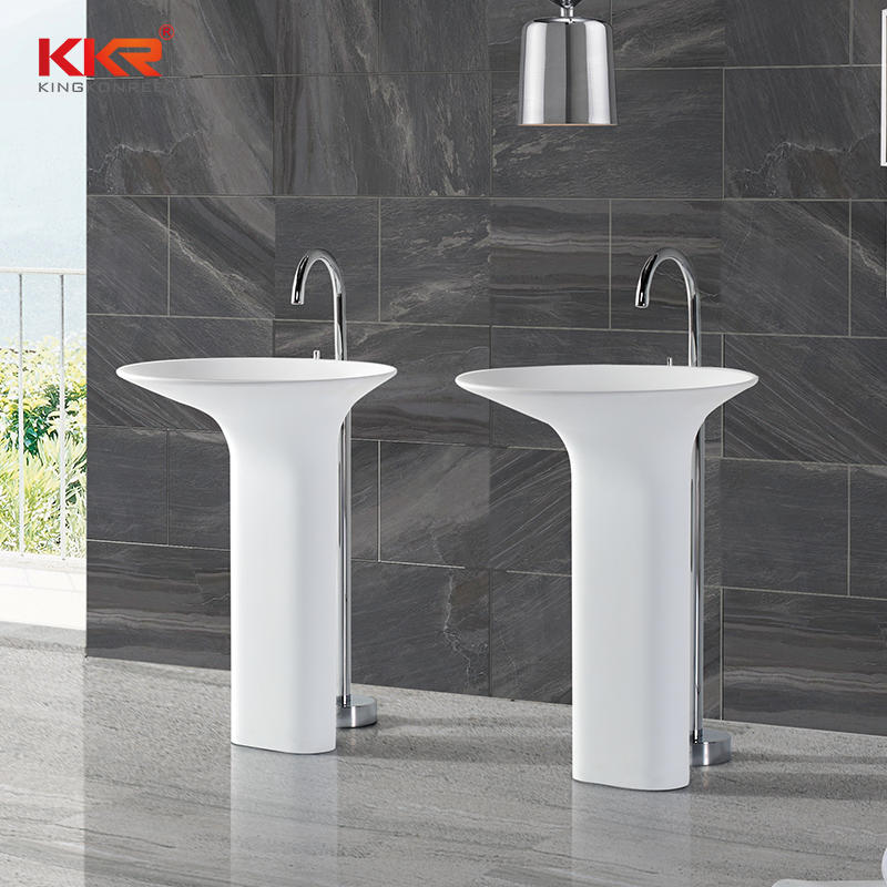 Unique Design Acrylic Solid Surface Freestanding Wash Basin KKR-1392