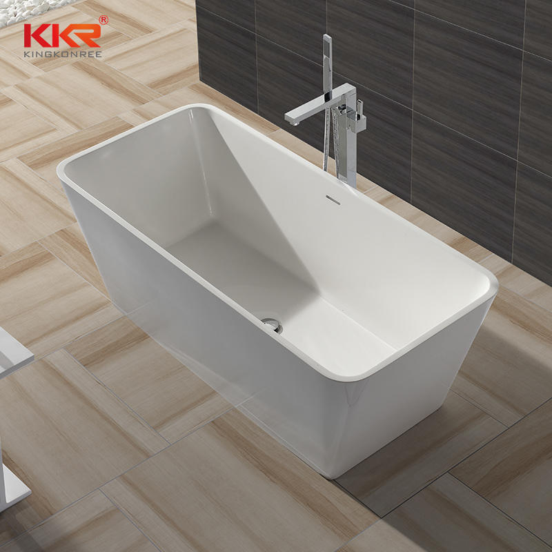 White Marble Acrylic Solid Surface Small Bathtub KKR-B043