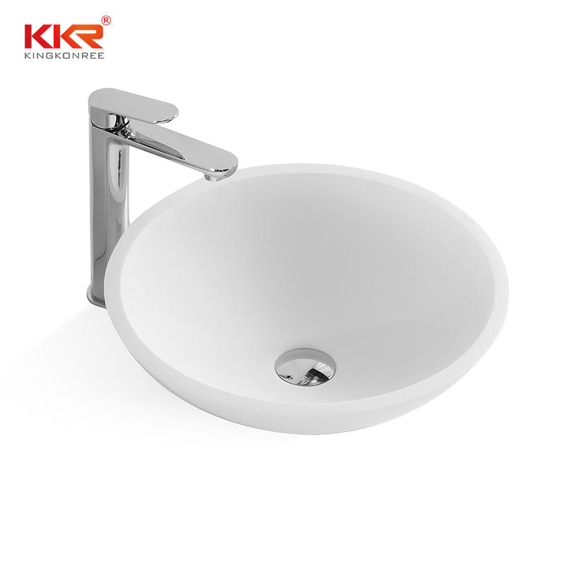 430mm Diameter Solid Surface Round Above Counter Washing Basin KKR-1315