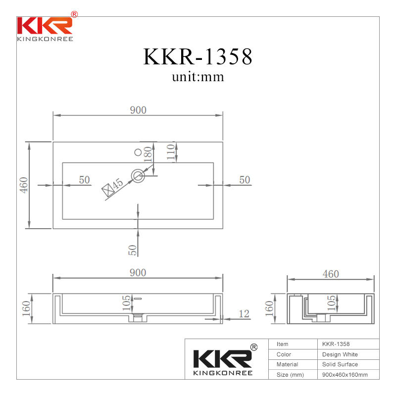 900mm Classic White Solid Surface Wall Mount Basin KKR-1358