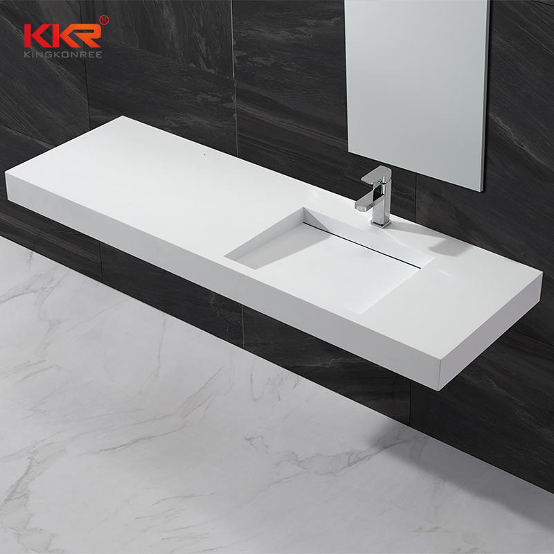 Small Slope Design Acrylic Solid Surface Wall Hang Wash Basin KKR-1333