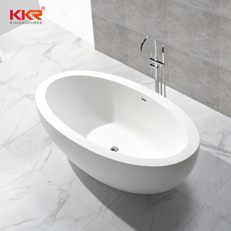 Bañera de gran tamaño independiente ovalada piedra artificial bañera de superficie sólida KKR-B048