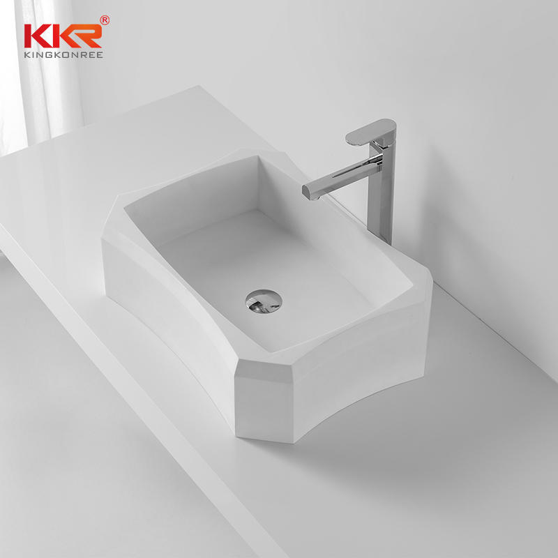 Rectangle Diamond Shape White Marble Acrylic Solid Surface Above Counter Basin KKR-1318