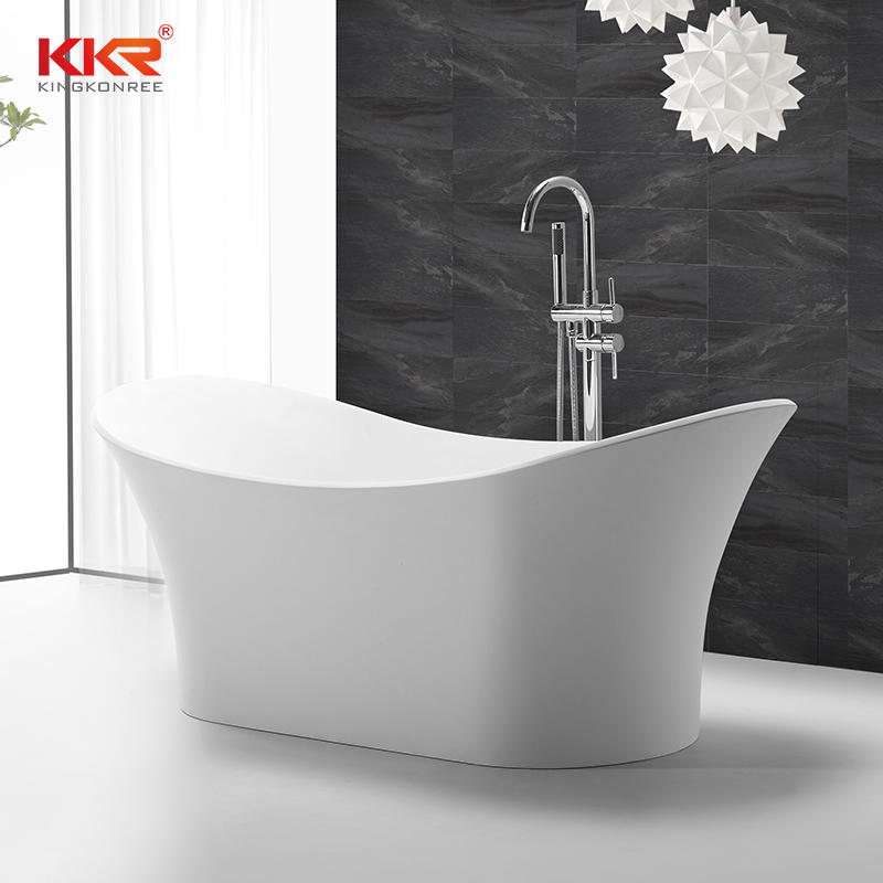 Luxury Vessel Shaped Acrylic Resin Stone Solid Surface Bathtub KKR-B055