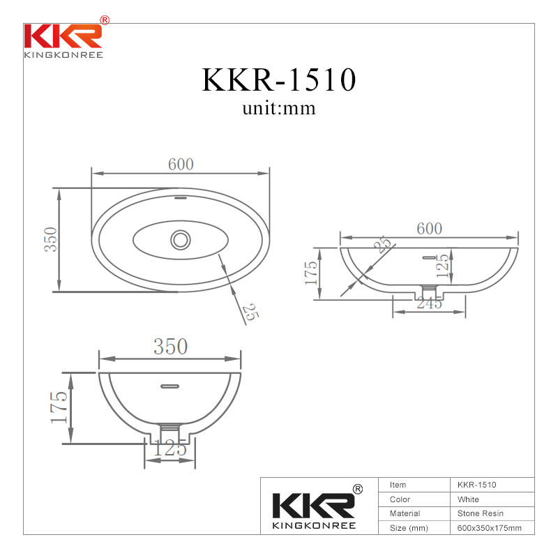 Newly Oval Solid Surface Above Counter Wash Basin KKR-1510
