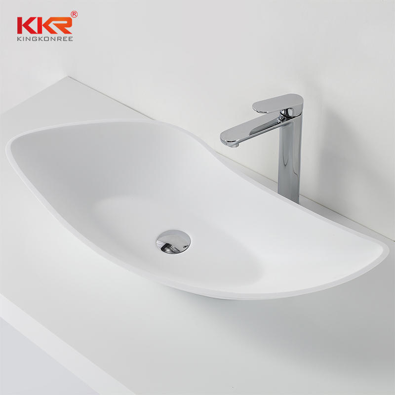 Polymarble White Matt Acrylic Solid Surface Above Counter Basin KKR-1317
