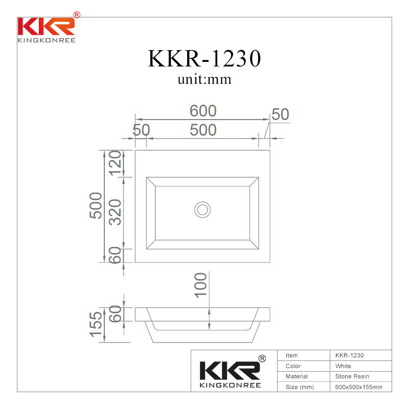 Hot Sales Elegant Design White Acrylic Solid Surface Cabinet Basin KKR-1230