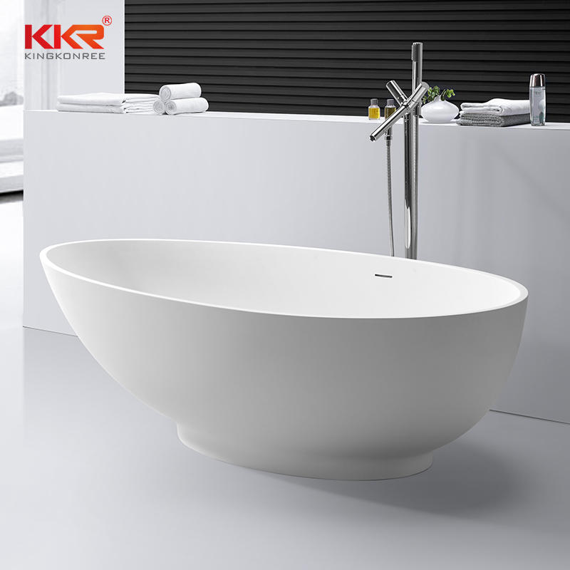 Artificial Stone White Acrylic Solid Surface Bathtub KKR-B057